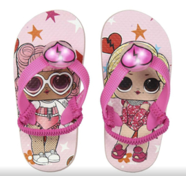 LOL Surprise slippers roze met lichtjes + GRATIS ketting