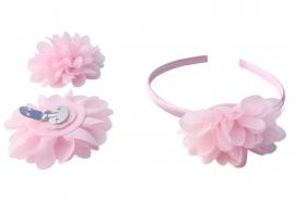 Spaanse haarband en schoenclips - licht roze
