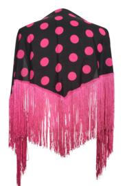 Spaanse manton met stippen zwart/ fel roze