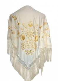 Flamenco Shawl cream white golden flowers Large