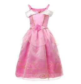 Doornroosje jurk licht roze + broche en GRATIS haarband