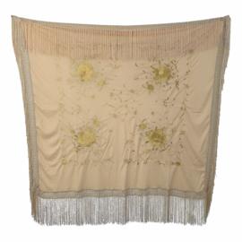 Spaanse manton vierkant cuadrado beige met bloemen