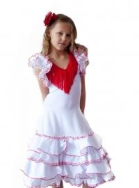 Spaanse Jurk Deluxe wit rood