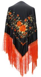 Spaanse manton zwart oranje goud franjes oranje LARGE