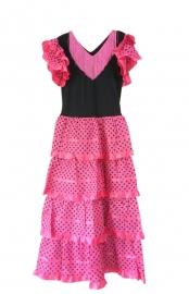 Spaanse jurk dames roze/zwart