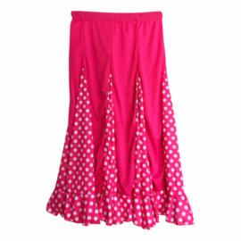 Spaanse flamenco rok meisjes roze witte stippen NIEUW