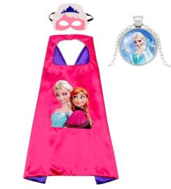 Elsa en Anna cape Frozen roze + masker en GRATIS ketting