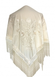 Spaanse manton/omslagdoek creme wit met witte bloemen L