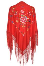 Spaanse manton/omslagdoek, rood diverse bloemen LARGE