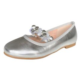 Ballerina schoenen Flores zilver met hakje