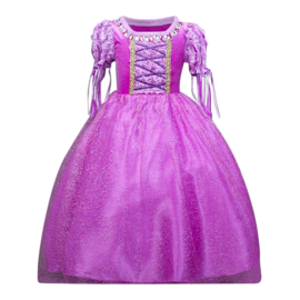 Prinsessenjurk Rapunzel paars Deluxe + GRATIS kroon