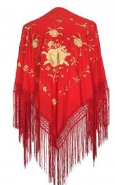 Spaanse manton/omslagdoek rood goud