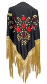 Spaanse manton zwart/rood goud gouden franjes LARGE