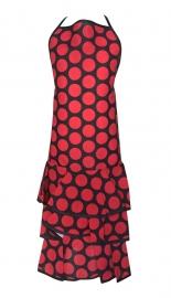 Spaanse flamenco schort zwart met grote rode stippen