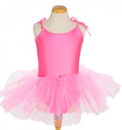 Balletpakje tutu met striklinten fel roze