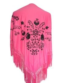 Spaanse manton/omslagdoek, roze/zwart