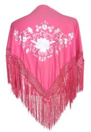 Spaanse manton/omslagdoek roze wit/zilveren bloem SMALL