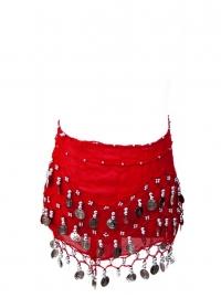 Spaanse dansdoek met muntjes rood
