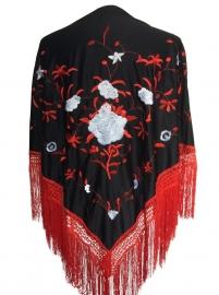 Spaanse manton/omslagdoek zwart rood witte bloemen