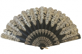 Spaanse flamenco waaier zwart glitter