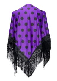 Spaanse manton met stippen paars/zwart