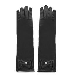 Handschoenen prinsessen zwart voor kinderen
