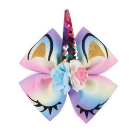 Eenhoorn haarclip regenboog met roosjes