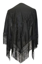 Spaanse manton/omslagdoek zwart met zwarte bloemen