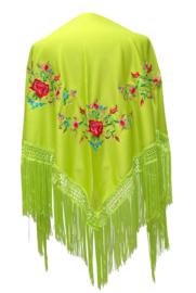 Spaanse manton/omslagdoek groen, diverse kleuren bloemen