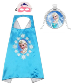 Elsa cape Frozen blauw + masker en GRATIS ketting
