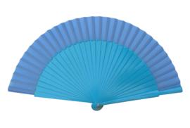 Spaanse flamenco waaier blauw (hout en stof)