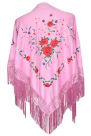 Spaanse manton/omslagdoek licht roze met rozen