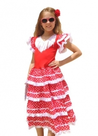 Flamenco Dress red white - new