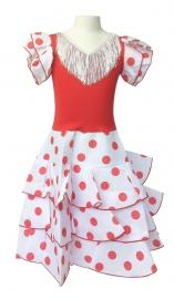 Spaanse flamenco jurk Niño wit rood