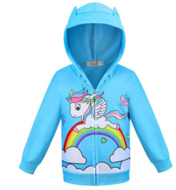 Eenhoorn Unicorn hoodie vest blauw + GRATIS ketting