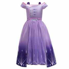 Elsa kleedje paars Luxe + GRATIS kroon paars