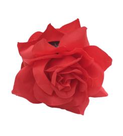 Spaanse haar roos dubbel, rood met clip