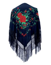 Spaanse manton/omslagdoek zwart rood groen zwarte franjes