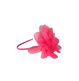 Prinsessen haarband fel roze grote bloem