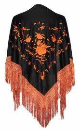 Spaanse manton omslagdoek zwart met oranje rozen