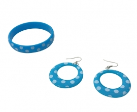 Spaanse armband en oorbellen, blauw/wit