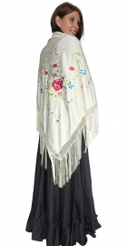 Flamenco Shawl cream white colored flowers Large