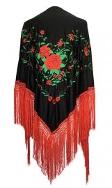Spaanse manton/omslagdoek zwart/rood groen zwarte franjes L