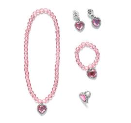 Prinsessen set roze - ketting, armband, oorbellen + ring