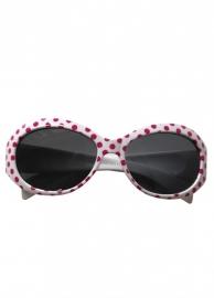 Spaanse zonnebril wit met roze stippen