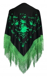 Spaanse manton omslagdoek zwart met groene rozen