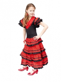 Robe Flamenco noir rouge