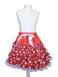 Petticoat tutu rokje rood met witte stippen, Luxe