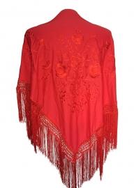 Spaanse manton/omslagdoek rood met rode bloemen LARGE