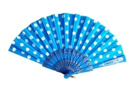 Spaanse flamenco waaier blauw/wit